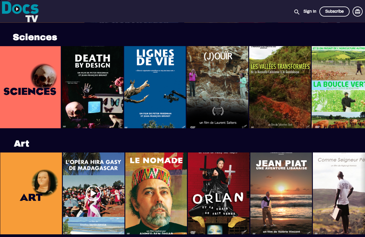 plateforme de streaming vidéo VOD monetisation SVOD AVOD OTT documentaries art science society