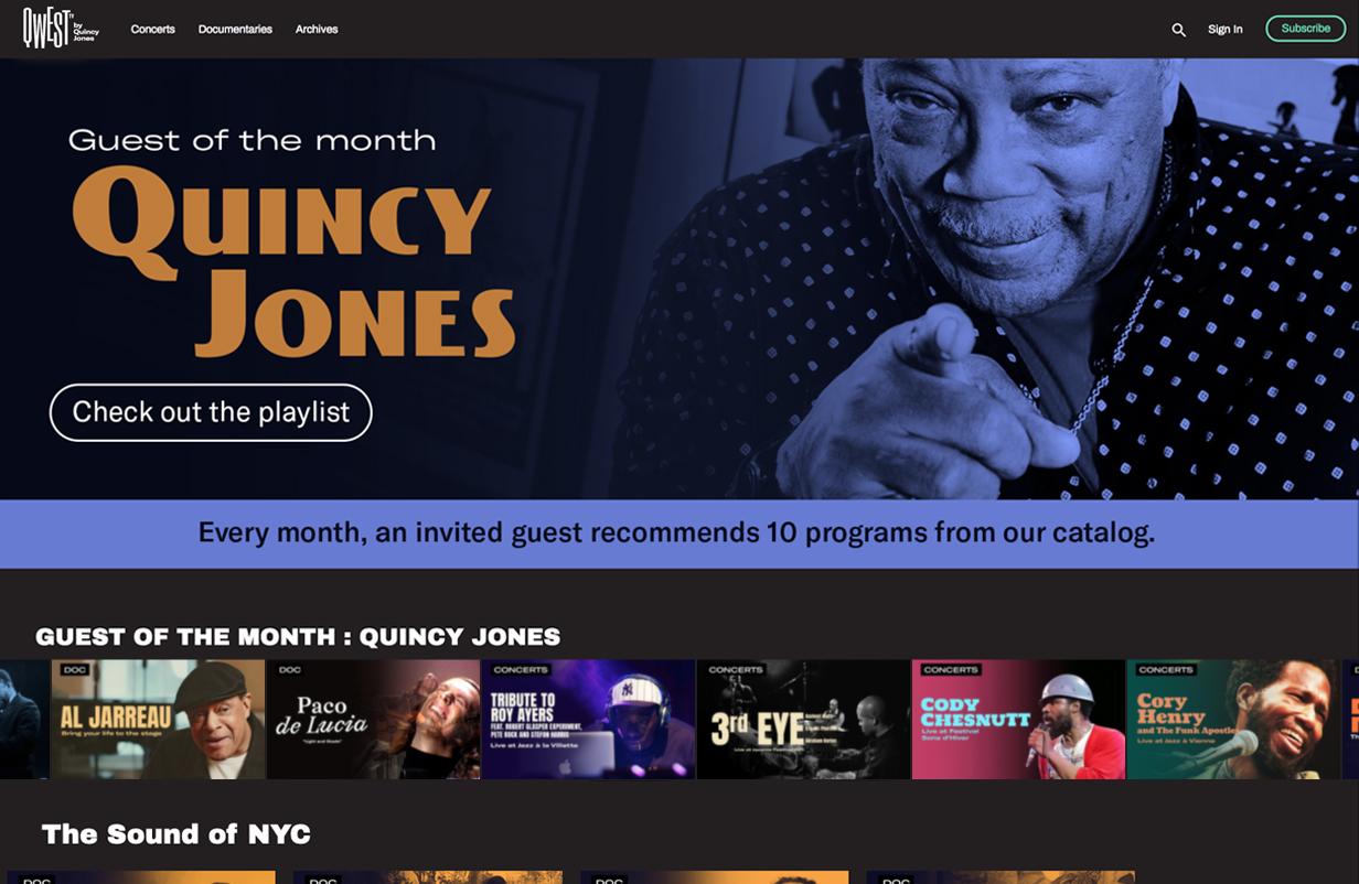 plateforme de streaming vidéo VOD monetisation SVOD AVOD OTT Quincy Jones Jazz