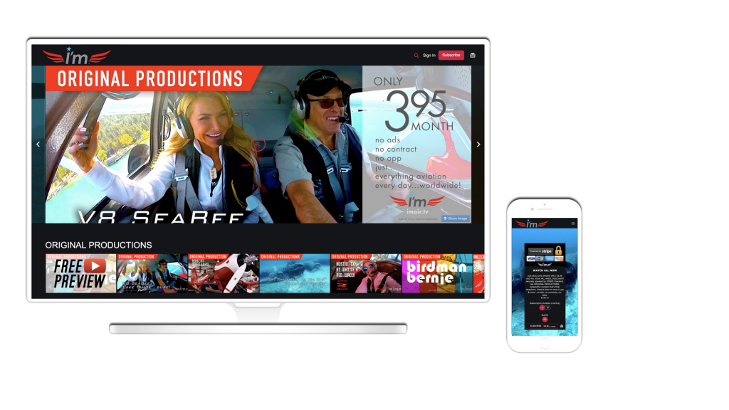 Lifestyle aviation video service displayed on a desktop or mobile applications