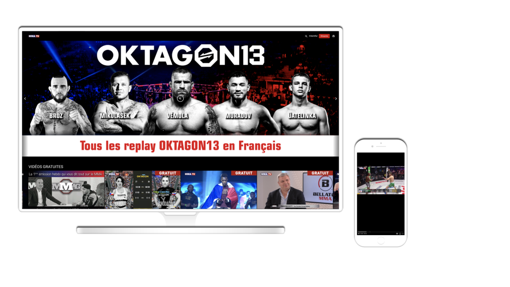 Sport OTT video service displayed on a desktop or mobile applications