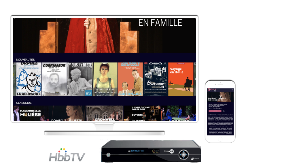 Streaming video service theatre displayed on a desktop, mobile applications and HBBTV Fransat